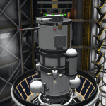 The unmanned munar lander Mk3 fitted atop the Taurus launch platform that will take it to the munar station before the commencement of the third mission rotation.